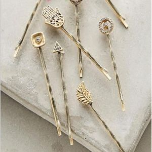 Anthropologie Hand/Leaves Pin Set of 7